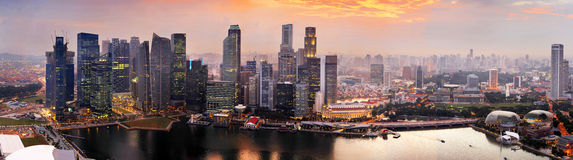 Singapore at sunset Stock Photography