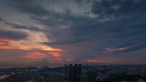 Singapore sunset sky Timelapse stock video footage