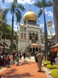 View of the beautiful Mashjid Sultan Mosque of Singapore royalty free stock photography