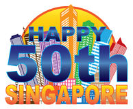 Singapore 50th National Day Skyline Circle Color Illustration. Singapore 2015 Happy 50th National Day City Skyline Silhouette Outline in Circle Color on White royalty free illustration
