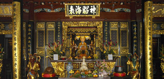 Singapore - Thian Hock Keng Chinese Temple. The interior of the Thian Hock Keng Chinese Temple on Telok Ayer Street in Sinapore. This Hokkien temple is also royalty free stock photo