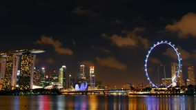 Singapore 2016-05-03 Time lapse - night view of the the Singapore skyline stock video footage