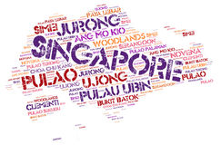 Singapore top travel destinations word cloud Royalty Free Stock Photo