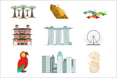 Singapore Touristic Symbols Set Stock Photography