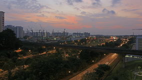 Singapore Traffic Lighttrails in Punggol at Sunset stock video footage