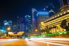 Singapore traffic road at night Royalty Free Stock Photo