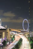 Singapore traffic and Singapore Flyer Royalty Free Stock Photography
