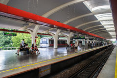 Singapore. Train arrives at the Tanah Merah Station. View from platform to airport Royalty Free Stock Images