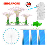 Singapore Travel Doodle with Architecture Royalty Free Stock Photos