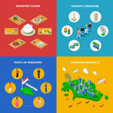 Singapore Travel  Isometric 4  Icons Square. Singapore map with touristic attractions megapolis cityscape and national cuisine 4 isometric icons poster abstract Royalty Free Stock Photography