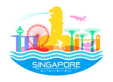 Singapore Travel Landmarks Vector Illustration