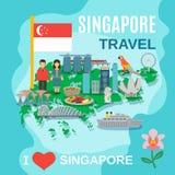Singapore Travel National Symbols Poster Stock Photography