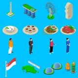 Singapore Travel  Symbols Isometric Icons Set Stock Photo