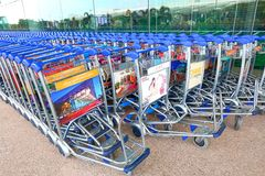 Singapore Trolleys at the Changi airport T3 Royalty Free Stock Photography