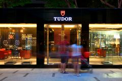 Singapore: Tudor emblematic pop-up store. TUDOR unveils the North Flag for the first time in Singapore, following its world premiere at this year's Baselworld Royalty Free Stock Photography
