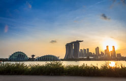 Singapore Twilight City Royalty Free Stock Images