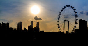 Singapore Twilight City Silhouette Royalty Free Stock Images