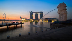 Singapore. Twilight at Merlion a wonderful buildings of Singapore royalty free stock photo