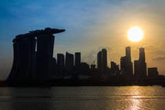 Singapore Twilight Sunset City Silhouette Stock Photo