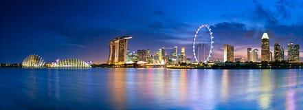 Singapore in twilight. Singapore  in twilight a view into Marina Bay Stock Images