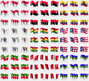 Singapore, UPA, Ecuador, Saint Barthelemy, Ghana, Puerto Rico, Tatarstan, Peru, Komi. Big set of 81 flags. Stock Image