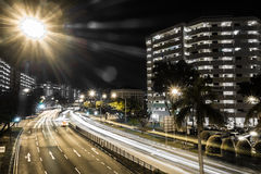 Singapore urban streets. Singapore urban street night traffic Stock Image