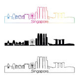 Singapore V2 skyline linear style with rainbow. Singapore skyline linear style with rainbow in editable vector file Stock Images