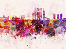 Singapore V2 skyline in watercolor background Royalty Free Stock Photography