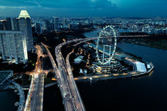 Singapore view. Singapore aerial view with Flyer big wheel after sunset Royalty Free Stock Photography