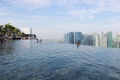 Singapore, view from the pool at Marina Bay Sands Royalty Free Stock Photo