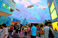 Singapore : Visitors in Future Of Us exhibition. Stock Image