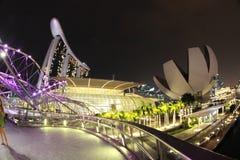 Singapore, vista della baia di Marina Bay alla notte Fotografia Stock