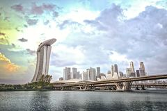 Singapore waterfront with modern architecture and dramatic sky Stock Images