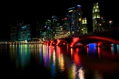 Singapore Waterfront at night. Singapore Waterfront Skyline at night Royalty Free Stock Photos