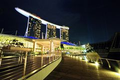 Singapore Waterfront Night Scene Stock Image