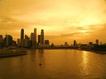 Singapore Waterfront Skyline. Sunset View of the Central Business District of Singapore City Stock Image