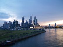 Singapore Waterfront Skyline. Sunset View of the Central Business District of Singapore City Royalty Free Stock Images