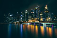 Singapore waterfront skyline at night Royalty Free Stock Photo