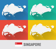 Singapore world map in flat style with 4 colors. Stock Image