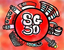 Singapore 50 Years of Nation Building Celebration. Singapore celebrates its 50th birthday in 2015 Royalty Free Stock Image