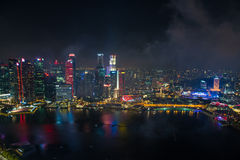 Singapore 50 years National Day dress rehearsal Marina bay fireworks Royalty Free Stock Images