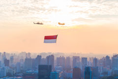 Singapore 50 years National Day dress rehearsal Marina bay Flag Review Royalty Free Stock Photography