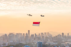 Singapore 50 years National Day dress rehearsal Marina bay Flag Review Royalty Free Stock Image