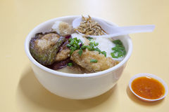 Singapore Yong Tau Foo Soup. With Fried Stuffed Bittergourd Eggplant Tofu Fishcake with Crispy Anchovies Stock Photos