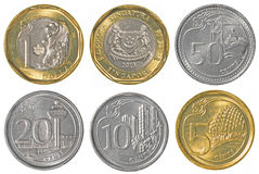 Singaporean dollar coins collection stock photos