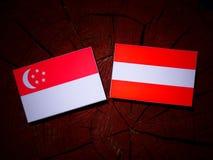 Singaporean flag with Austrian flag on a tree stump. Singaporean flag with Austrian flag on a tree stump Stock Photography