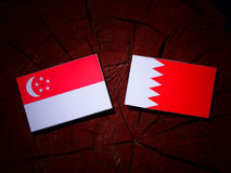 Singaporean flag with Bahraini flag on a tree stump stock photos