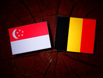 Singaporean flag with Belgian flag on a tree stump isolated. Singaporean flag with Belgian flag on a tree stump Stock Image