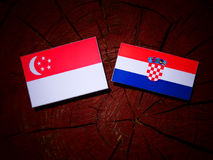 Singaporean flag with Croatian flag on a tree stump. Singaporean flag with Croatian flag on a tree stump Stock Photo