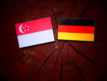 Singaporean flag with German flag on a tree stump. Singaporean flag with German flag on a tree stump Royalty Free Stock Photography